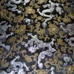 Black with Gold and Silver Dragon Silk Brocade